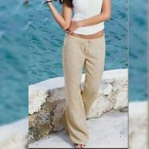 London Jeans Linen Beach Khaki Drawstring Pants